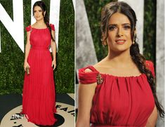 Salma Hayek is a member on the board of Global Green USA and outfitted her home with solar panels to reduce her carbon footprint. Oscar Fashion, Vanity Fair Oscar Party, Princess Style, Salma Hayek, Red Carpet Dresses, Red Carpet Fashion, Types Of Fashion Styles, Manga, Celebrity Style