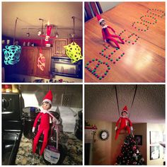 """Elf on The Shelf ideas i like from this link: cookie baking supplies gift, paper snow flakes, """"be good"""" candy message, snow angel"""