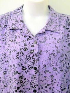 Womens MIB Purple Shirt Blouse Plus Size 3-4XL Black Flowers Button Front Textur #MIBCollections #ButtonDownShirt #Casual