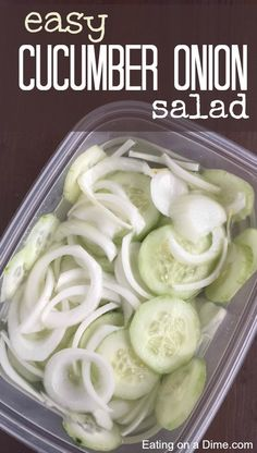 This delicious Cucumber Onion Salad Recipe is perfect for any BBQ, family dinner, or just for a snack. We keep a batch in our fridge evertime we get cucumbers for cheap. Cucumber Onion Salad Recipe - easy cucumber onion salad One Crazy Mom OneCrazy Cucumber Onion Salad, Cucumber Recipes, Easy Salad Recipes, Healthy Recipes, Easy Salads, Summer Salads, Healthy Snacks, Easy Meals, Cooking Recipes