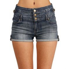 Light Denim High Waisted Roll Up Shorts (9.260 CLP) ❤ liked on Polyvore featuring shorts, bottoms, pants, lt denim, high waisted zipper shorts, zipper pocket shorts, high-waisted shorts, denim shorts and highwaisted shorts