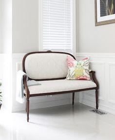 AM Dolce Vita, Kravet Jellybean Pillow, French Settee