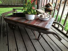 Repurposed cart and barn wood for a rustic coffee table via Wooden Nichols. Sigh-wish my living room was bigger.