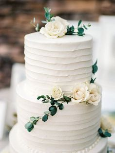 simple, organic, white and green wedding cake