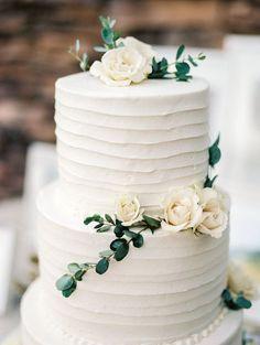 simple, organic, white and green wedding cake