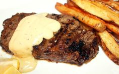 Grilled Beef Tenderloin Steak with Creole Belgium Fries and Gorgonzola Cream Sauce