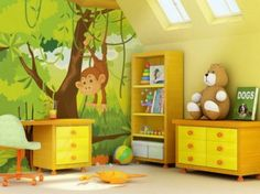 Kids Bedroom Design Zoo Wallpaper Decoration.. #KidsBedroomDesign
