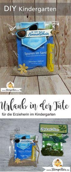 stampin up erzieherin kindergarten geschenk kleinigkeit urlaub in der tüte kneipp badesalz verpacken tasche sonnenschein