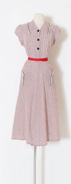 Vintage 1940s 40s Dress red white blue cotton checked dress | Etsy 1940s Dresses, Blue Dresses, Dresses For Work, Summer Dresses, Button Skirt, Check Dress, Seersucker, Dress Red, Red White Blue