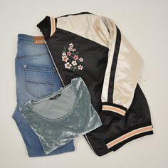 Bomber jacket + velvet trend + jeans = perfect combi! #comingsoon