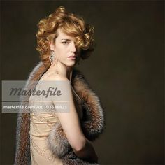 1e0f6ab6ec Stock photo of Portrait of Woman wearing vintage style dress and wrap   Premium Rights-