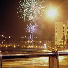 Fireworks at Las Canteras beach in Las Palmas, Gran Canaria