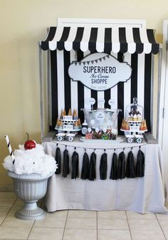 Loving the Ice cream Shoppe at this cool Superhero Birthday Party! See more party ideas and share yours at CatchMyParty.com