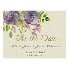 RUSTIC VIOLET WILD FLOWERS & FOLIAGE Save the date Postcard - bridal gifts bride wedding marriage