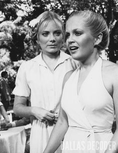 """Bev and Lucy (Tami Barber, Charlene Tilton) attend a garden party in this 1981 publicity shot from """"The Big Shut Down,"""" a fifth-season """"Dallas"""" episode. Relive more memories at DallasDecoder.com."""