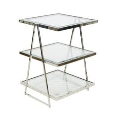 Jarmon Side Table from Worlds Away features nickel plated frame. Three tiered shelves combine function and style. Triangle frame and beveled edged glass create intriguing detail