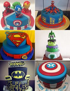 Save the Day With 25 Superhero Birthday Cakes!--- There are some amazing cakes in here. Although I'm not on board with the whole superhero thing, I have a feeling this trend will be growing as Aidan does. Superhero Birthday Cake, Superhero Party, 4th Birthday, Kid Birthday Cakes, Birthday Ideas, Superhero Kids, Fancy Cakes, Cute Cakes, Gateau Power Rangers