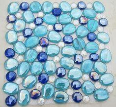 Mix Colors Pebble Glass Tile
