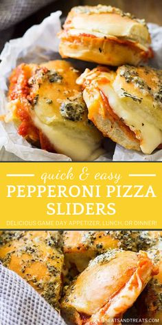 Pepperoni Pizza Sliders are quick and easy! Not only is this recipe perfect for any night of the week, but it would also be great on game day. Whether enjoyed for lunch, dinner, or as an appetizer, these sandwiches are the best you will ever have on football season! Slider Sandwiches, Appetizer Sandwiches, Easy Appetizer Recipes, Yummy Appetizers, Easy Dinner Recipes, Snack Recipes, Easy Meals, Cooking Recipes, Sliders