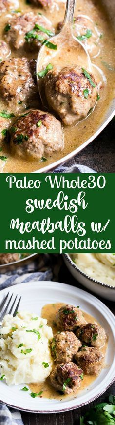 These Paleo Swedish meatballs in a creamy gravy, with dairy-free, Whole30 friendly mashed potatoes are pure comfort food for cold nights. Made with real-food ingredients, gluten-free, dairy-free, family approved! Whole Foods, Whole 30 Diet, Paleo Whole 30, Paleo Recipes, Whole Food Recipes, Cooking Recipes, Freezer Recipes, Freezer Cooking, Clean Eating Recipes