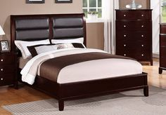 POUNDEX Furniture - Brown Faux Leather Queen Bed - F9175