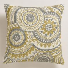 One of my favorite discoveries at WorldMarket.com: Yellow and Gray Abstract Throw Pillow