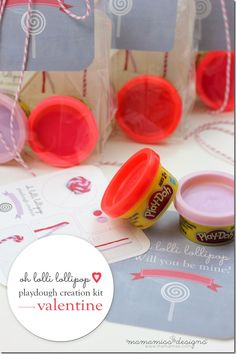 Lollipop Playdough Creation Kit Valentine | Mama Miss