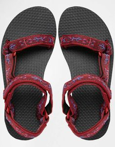 Image 3 of Teva Original Universal Old Lizard Red Flat Sandals