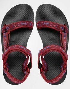 Image 3 of Teva Original Universal Old Lizard Red Flat Sandals