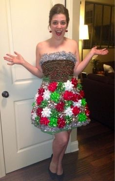 """Crazy In Crafts: DIY Ugly Christmas Sweater Party Dress// so cute! needing ideas for a FUN Ugly Christmas Sweater Party check out """"The How to Party In An Ugly Christmas Sweater"""" Tacky Christmas Party, Diy Ugly Christmas Sweater, Ugly Sweater Party, Christmas Costumes, Xmas Party, Xmas Sweaters, Diy Christmas, Christmas Outfits, Abc Party"""