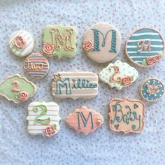 Sugar cookies decorated with royal icing for my little girls 2nd birthday with a vintage vibe