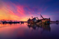 A Broken Boat in Twilight by Chaiyun Damkaew on 500px