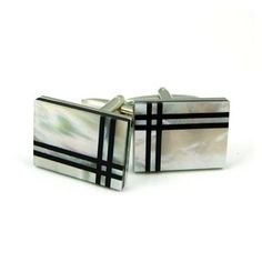 Cufflinks from NELSON WADE, silver cufflinks made with Mother of Pearl  Onyx in a plaid pattern. $58