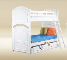 J.A.Y. Furniture Twin Bunk Bed Bead Board in White with Trundle