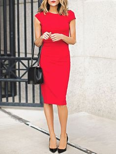 Shop Red Cap Sleeve Knee-length Pencil Dress online. SheIn offers Red Cap Sleeve Knee-length Pencil Dress & more to fit your fashionable needs.