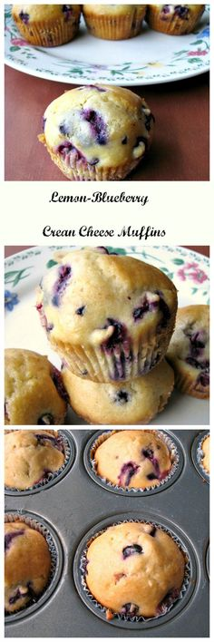 Sweet and tart Lemon-Blueberry Cream Cheese Muffins, great for breakfast, brunch, or a snack. Filled with lemon zest, blueberries, cream cheese, and topped with a delicious lemon glaze, they are just perfect for any table! #BrunchWeek