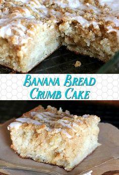 This Banana Bread Crumb Cake recipe is a fun twist on both Banana Bread and Crumb Cake.it's like a muffin in cake form, and oh so good! Banana Bread Recipes, Cake Recipes, Dessert Recipes, Brunch Recipes, Just Desserts, Delicious Desserts, Yummy Food, Yummy Snacks, Banana Crumb Cake