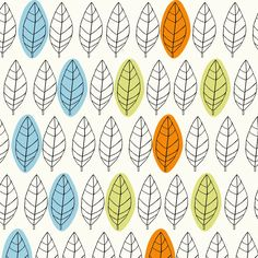 Repeat pattern experiment number one. The leaf is scanned from an original drawing and then photoshopped into a repeat pattern, then the colour is added. The designs based 1950's fabrics and patterns that include leaves and flowers.  Jake Pearce