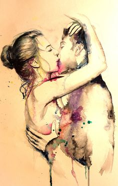 Couple portrait watercolor art print. Wall art by TatyanaIlieva