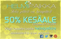 Käy tutustumassa uusittuihin www.helmipaikka.fi sivuihin ja hyödynnä alekoodi helmipaikka niin saat kaikista koruista 50% alennuksen.