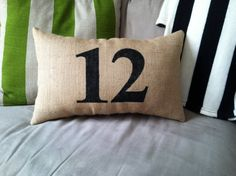 Burlap Lumbar Pillow or Pillow Cover with a 2 Digit Number of Your Choice in Black- Available in other colors on Etsy, $25.00