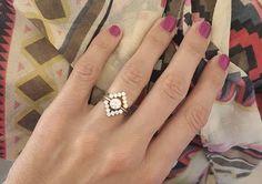 Wedding Set, Round Diamond Engagement Ring with V Diamond Band, Modern Wedding…