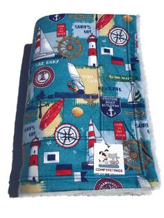 Nautical Dog Blanket Lighthouse Decor Baby Beach by ComfyPetPads