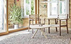from Tisca Olbia Broschüre, englisch Interior Decorating, Interior Design, Outdoor Furniture Sets, Outdoor Decor, Cladding, Handmade Rugs, Ground Floor, Dining Chairs, Flooring