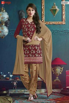 Red with Butta Work Incredible Unstitched Salwar Kameez. Message/call/WhatsApp at +91-9246261661 or Visit www.zinnga.com