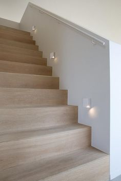 Light for Stairways - Turn on the top LED to light the upper edge of each step or the bottom one to impart a soft glow on each step. These lights enhance the beauty of your stairways. Staircase Lighting Ideas, Stairway Lighting, Modern Staircase, Staircase Design, Staircase Landing, Hall Lighting, Lighting Stores, Entryway Lighting, Spiral Staircases