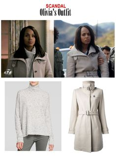 "On the blog: Olivia Pope's (Kerry Washington) gray belted coat and gray speckled cashmere turtleneck sweater | Scandal 413 - ""No More Blood"" #tvstyle #tvfashion #outfits #fashion #gladiators #TGIT"