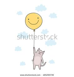 cute cartoon cat flying in the sky on yellow balloon with smile face Flying Cat, Yellow Balloons, Kids Work, Fat Cats, Working With Children, Cat Drawing, Smile Face, Cute Cartoon, Sweets