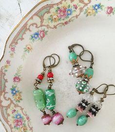 verdantbeaded trio earring set lampwork beads glass beads by Arey