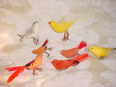 Vintage Spun Cotton and Flocked Bird Figures Canary Goldfinch Red Birds Lot of 7